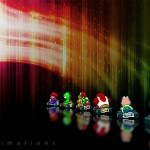 super mario kart colourful